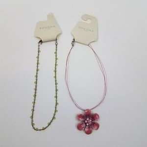 ! Sonoma necklace lot of 2 floral flower green cha